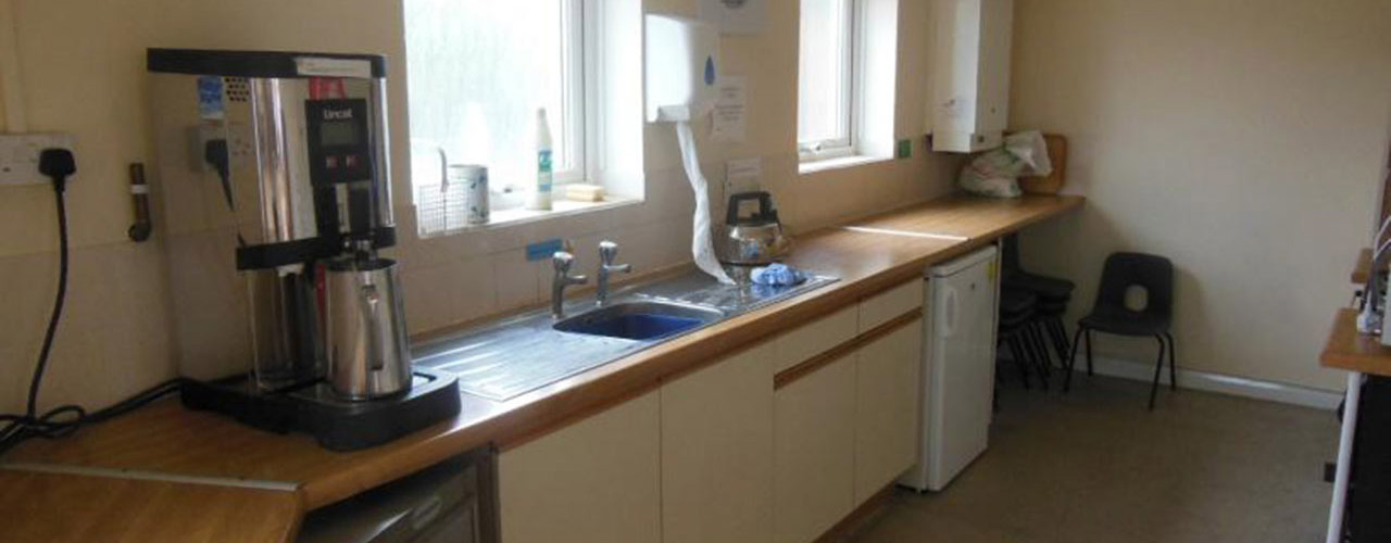 The kitchen upstairs in the community centre