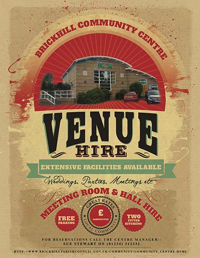 Poster advertising the Brickhill Community Centre
