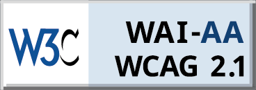 The W3C logo confirming this website meets WCAG 2.1 and WAI-AA standards