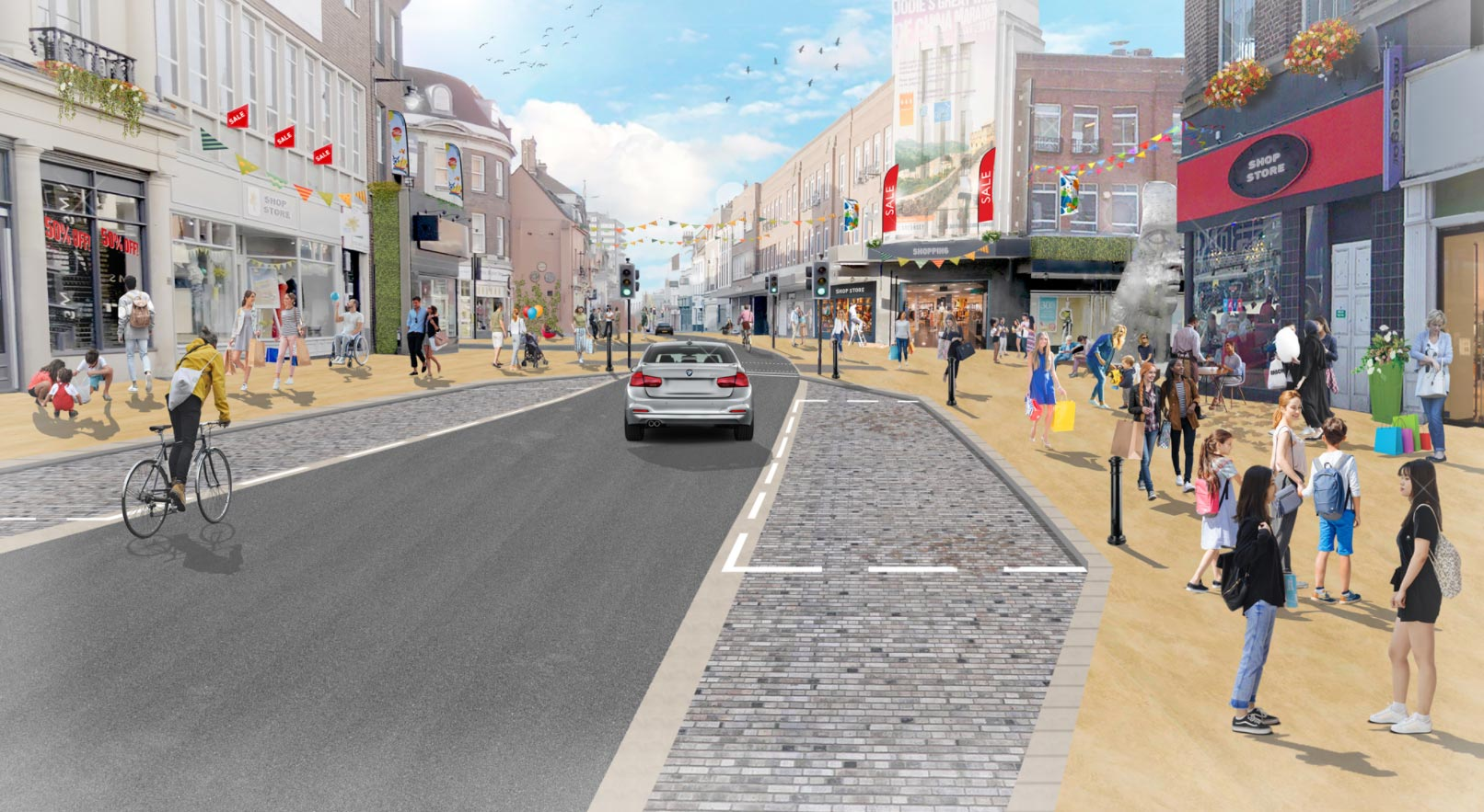 Artists impression of Bedford's revamped high street